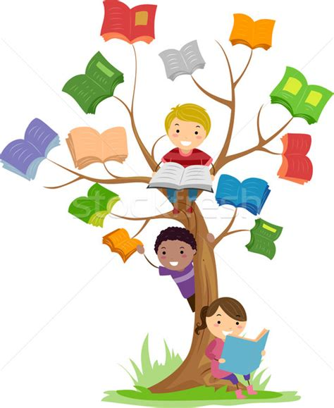 the art of children s picture books tree houses stickman kids book tree read vector illustration 169 lenm