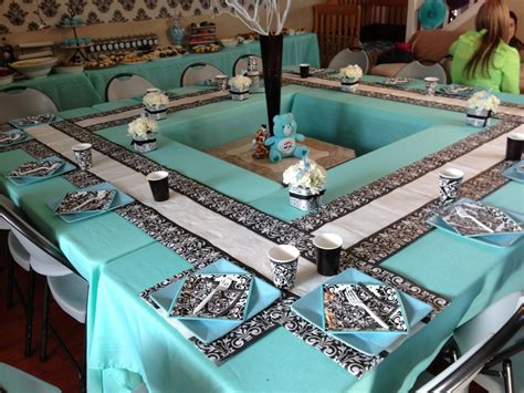baby shower table setups square tables damasks and babies on