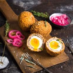 Handmade Scotch Eggs - scotch eggs with a runny yolk nerds with knives