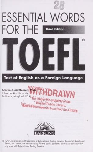 Essential Words For The Toefl 6th Ed essential words for the toefl test of as a foreign language 2004 edition open library