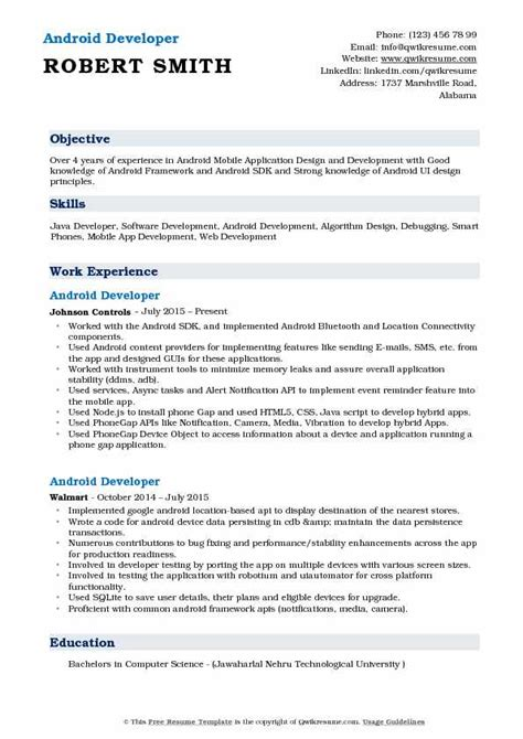 resume templates for android phones android application developer resume sles qwikresume