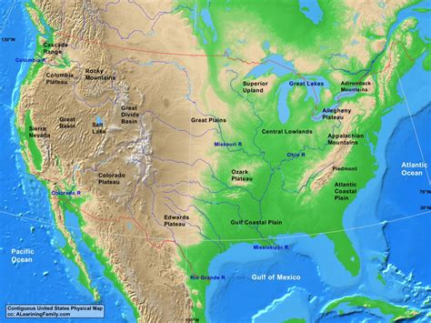 usa contiguous usa physical map  learning family