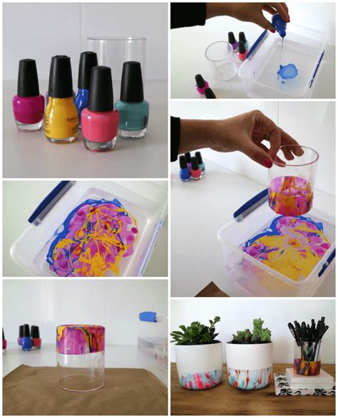 d i y diy marble nail polish pencil holder