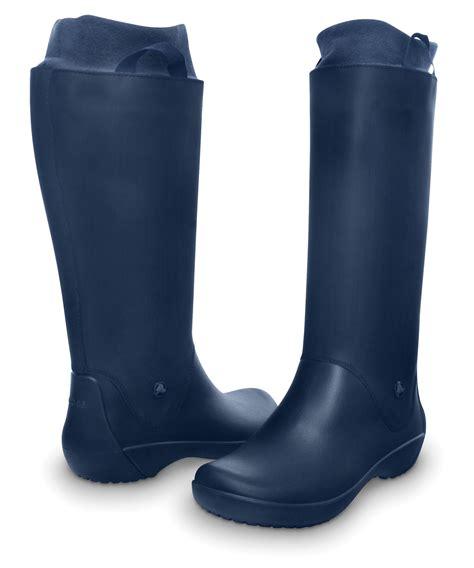 womens crocs wellie rainfloe boots fashion pull slip on