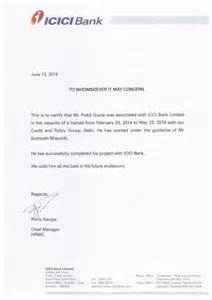 Letter To Bank For Certification Icici Bank Summer Internship Certificate