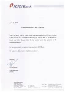 Certification Letter From Bank Icici Bank Summer Internship Certificate