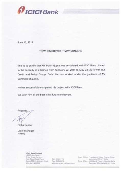 Interest Certificate Letter To Bank Icici Bank Summer Internship Certificate