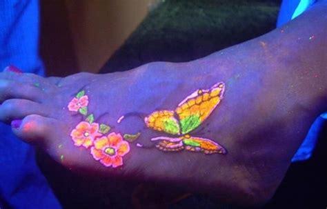 glow in the dark butterfly tattoo beautiful butterfly black light tattoo on foot