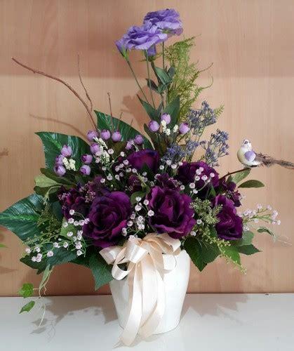rangkaian bunga artificial mawar ungu toko bunga