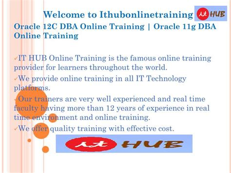 online tutorial powerpoint ppt oracle 12c dba online training oracle 11g dba