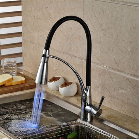 black kitchen sink faucets led kitchen sink faucet black chrome plated cold pullout spray faucet mixer taps alexnld