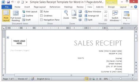 word template page receipt simple sales receipt template word hardhost info