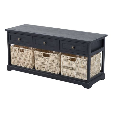 black bench with baskets homcom 40 quot 3 drawer 3 basket storage bench antique black