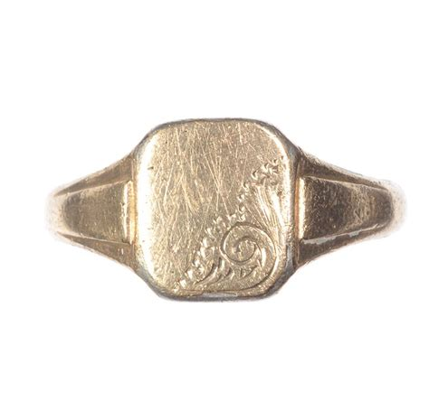 9 ct gold silver engraved signet ring