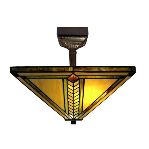 Warehouse Of Tiffany 2 Light Antique Bronze Mission Stained Glass Light Fixture
