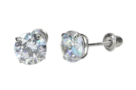 14k yellow gold stud earrings screwbacks clear cubic zirconia jewelryland