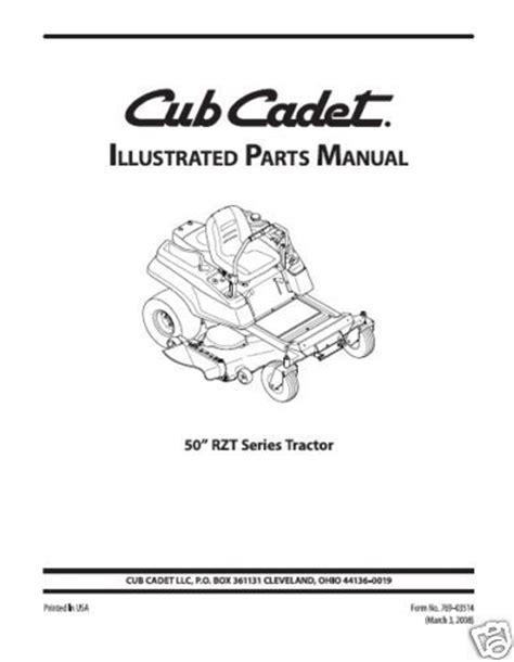 cub cadet rzt 50 parts diagram cub cadet parts manual model no rzt 50 ebay