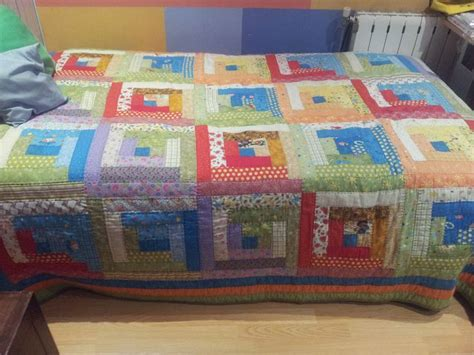colcha log cabin patchwork colchas logs