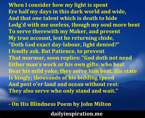 Summary Of The Poem On His Blindness By Milton the best 28 images of on his blindness on his blindness poem analysis on on his blindness by