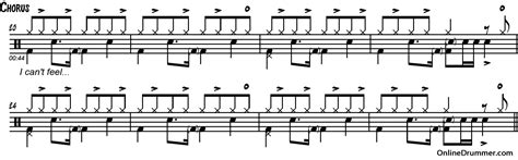 drum pattern for wipeout can t feel my face the weeknd drum sheet music