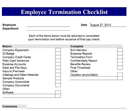 termination checklist template new employee orientation program checklist filebold