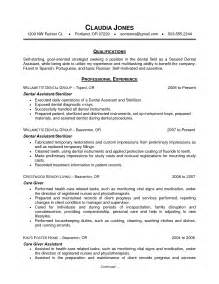 cover letter dentist resume sle dentist resume sle free dentist resume