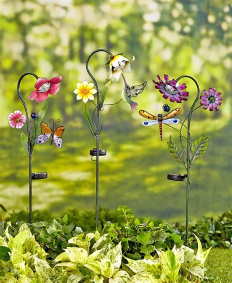 Diy Outdoor Solar L by Solar Powered Flower Garden Stake Set Light Yard Lawn