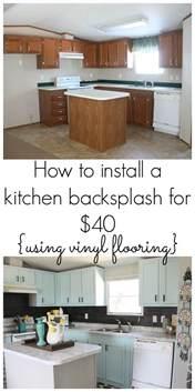 vinyl kitchen backsplash our 40 backsplash using vinyl flooring re fabbed