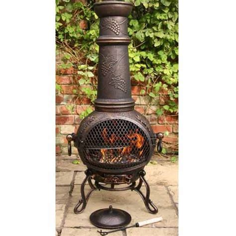 Patio Chiminea Solid Cast Iron Chimenea And Bbq Combi Bronze Chiminea