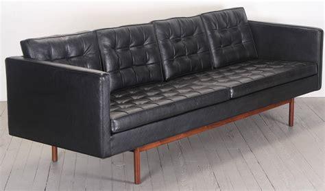 milo baughman for thayer coggin black vinyl sofa 1960s