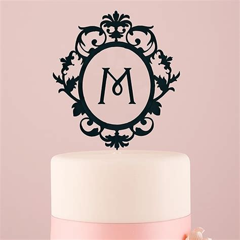 Acrylic Topper For Cake classic floating monogram black acrylic cake topper the knot shop