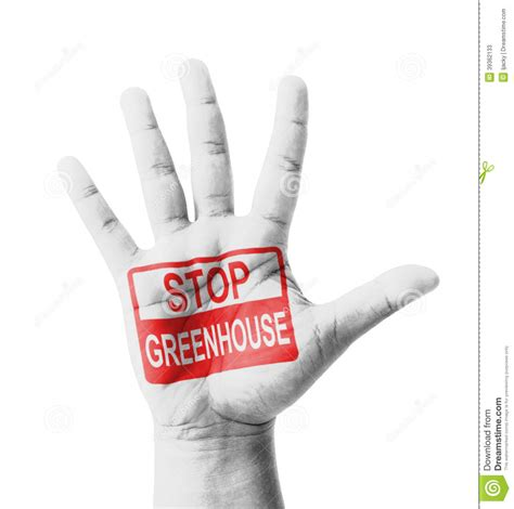 Open Hand Raised, Stop Greenhouse Effect Sign Painted