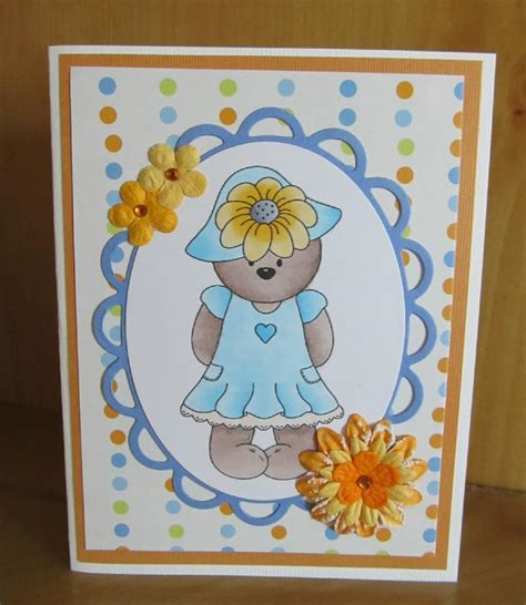 Handmade Teddy Cards - handmade teddy card using copic markers and