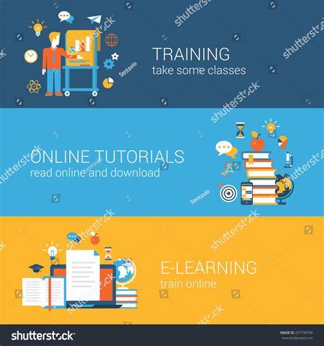 tutorial vector flat education training online tutorial elearning stock