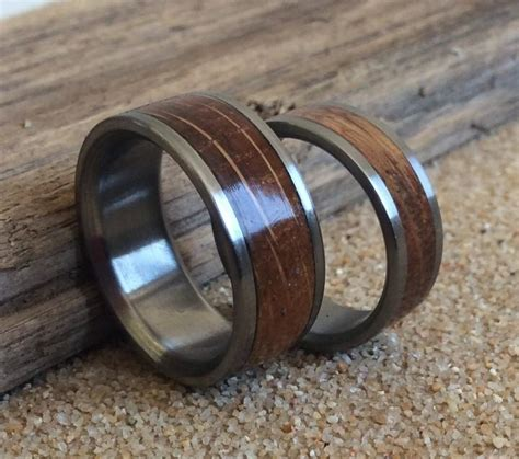 Wedding Rings Made Of Wood by Wedding Rings Charred Oak Whiskey Barrel Inlay Ring Wood