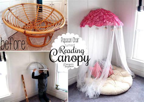 Old papasan turned into a papasan canopy reading nook