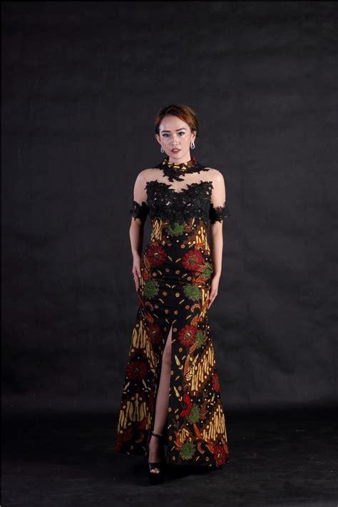 Dress Batik Tulis Kuning 01 daftar harga baju batik modern kombinasi brokat termurah