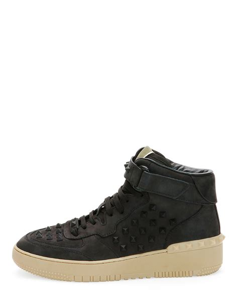 valentino sneakers valentino rock be studded high top sneakers in black for