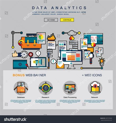One Page Data Analytics Web Design Stock Vector 407279200 Data Analytics Website Template