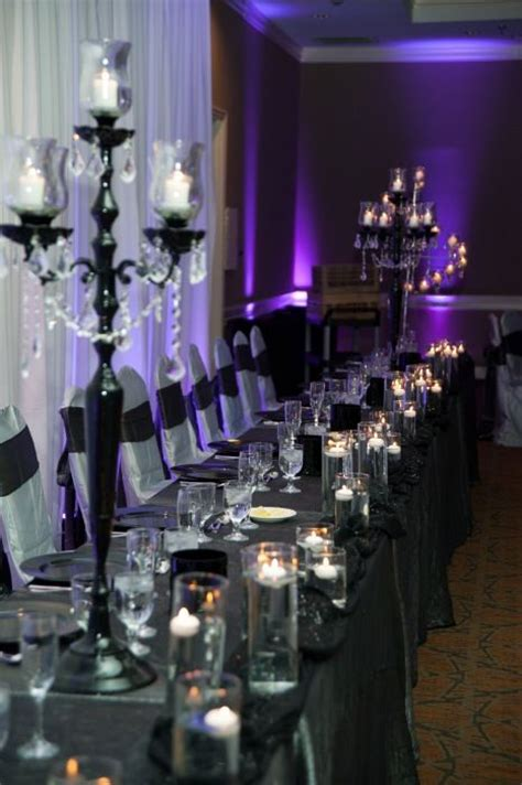 Black And Purple Table Decorations by Silver Black And Purples Wedding Table Decor Detail