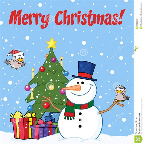 cards of concern during christmas merry greeting with a snowman royalty free stock photography image 17264267