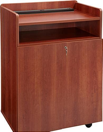 Cherry Mobile Presentation Stand   Locking Cabinets for