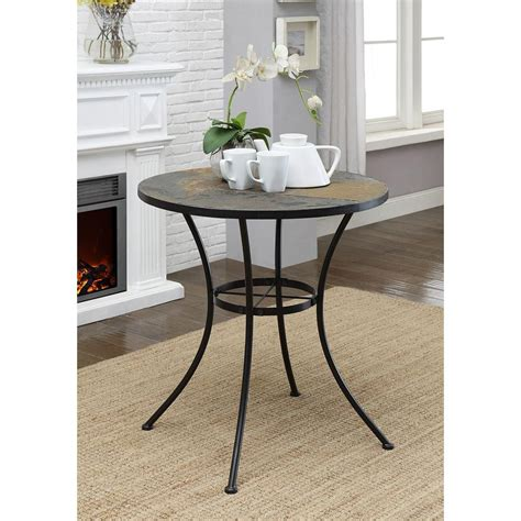 slate top side table slate top end table allister rustic cinnamon square