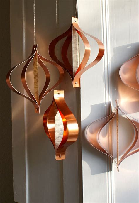 copper decorations hanging ornaments holiday decor mid century modern retro re
