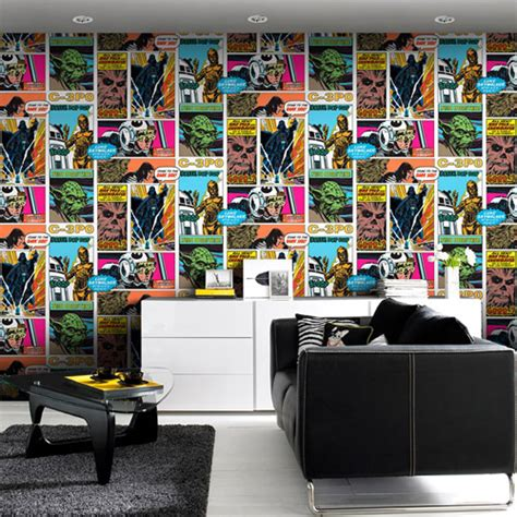 fotocollage behang star wars pop art collage wallpaper by graham and brown