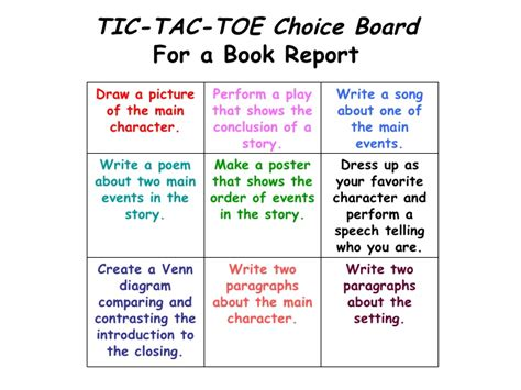 tic tac toe choice board template sle tic tac toe template tic tac toe competition