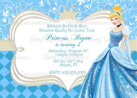 invitation cinderella birthday pinterest