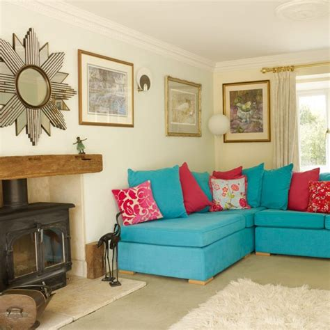 turquoise sofa living room living room vintage inspired home house tour