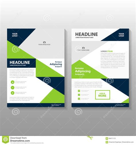 layout design green triangle blue green annual report leaflet brochure flyer