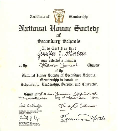 national honor society certificate template mintzer national honor society certificate